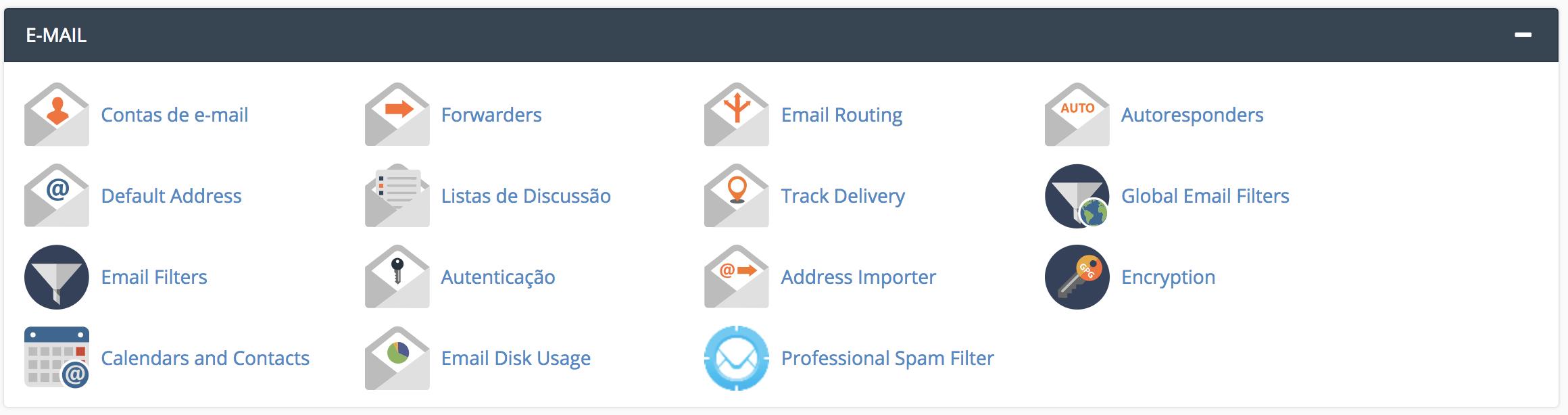 Secção Email no cPanel