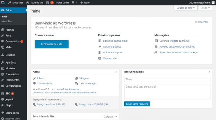 Painel e Menu de administração WordPress