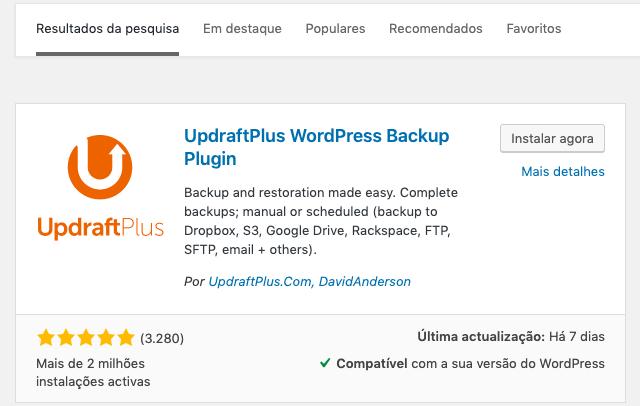 Activar o plugin UpdraftPlus