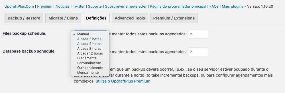 Configurar backups agendados