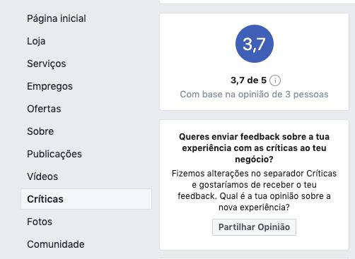 Separador Criticas no Facebook